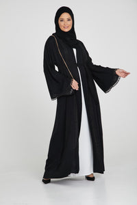 Classic Black Open Abaya with Lace Trimming