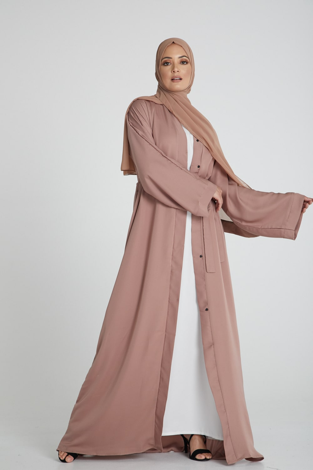 Dusty Taupe Open Abaya