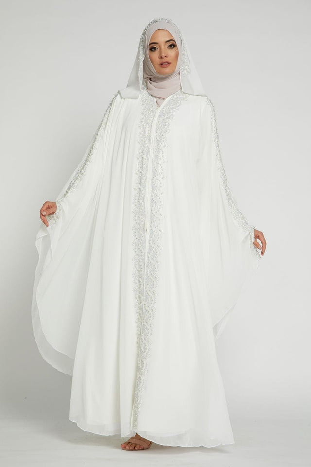 White Gemstone Farasha With Hood