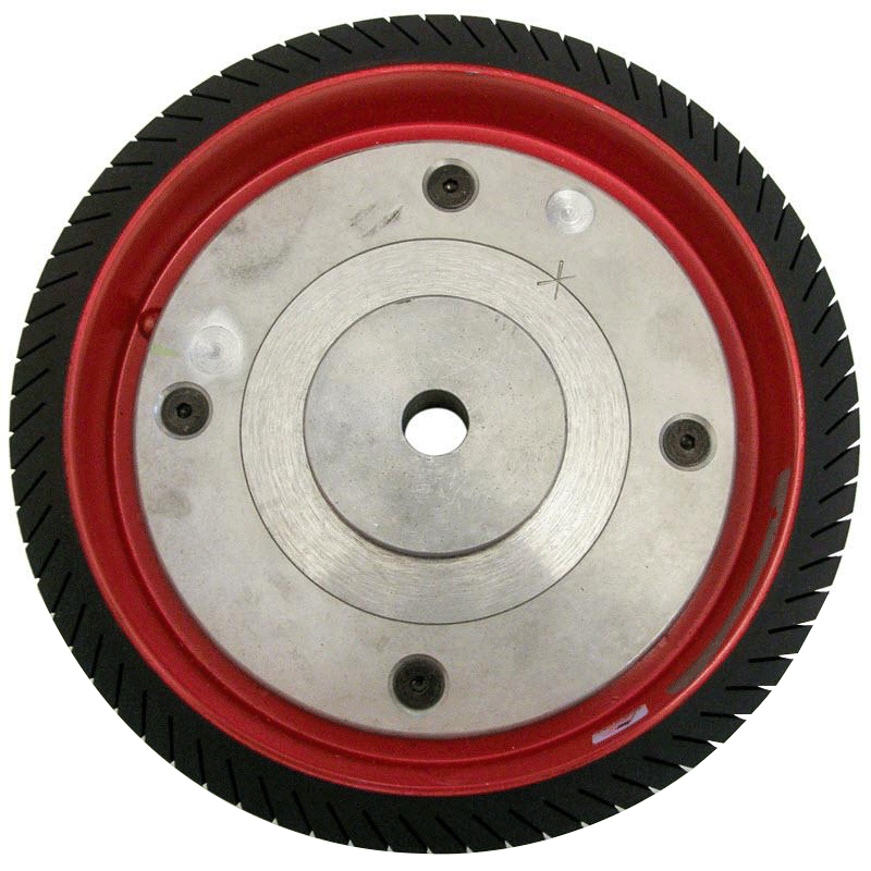 12 x 4 inch precision-balanced expanding bullwheel and hub assembly with 1 inch bore for Model BW and Rock's Lapidary bull wheel grinders