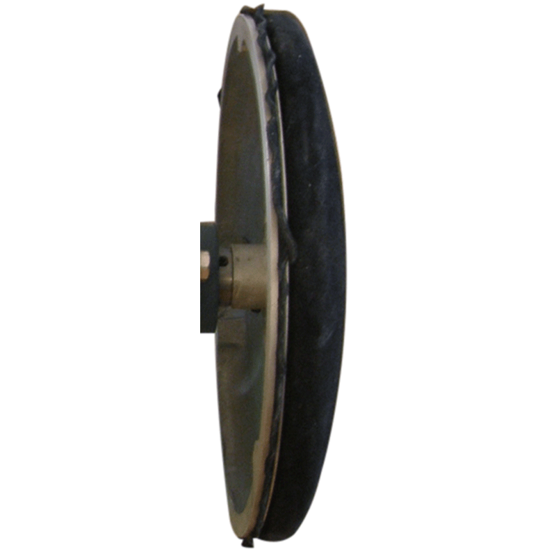 12 inch domed leather covered polishing disc with 1 inch bore for Model BW and Rock's Lapidary bull wheel grinders