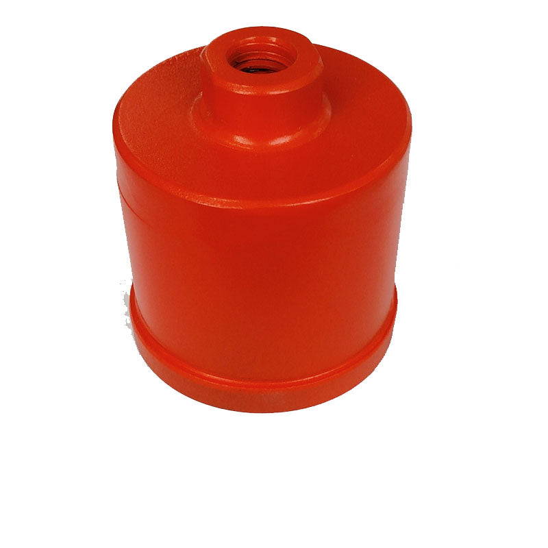 2-1/2 inch 800 grit polishing cup with 7/16 inch layer of diamond impregnated polymer and 5/8-11 female thread. 3 inch long