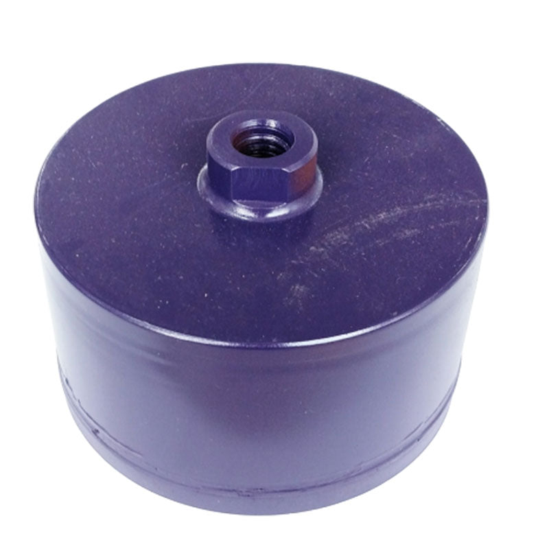 5 inch 1200 grit polishing cup with 7/16 inch layer of diamond impregnated polymer and 5/8-11 female thread. 3 inch long