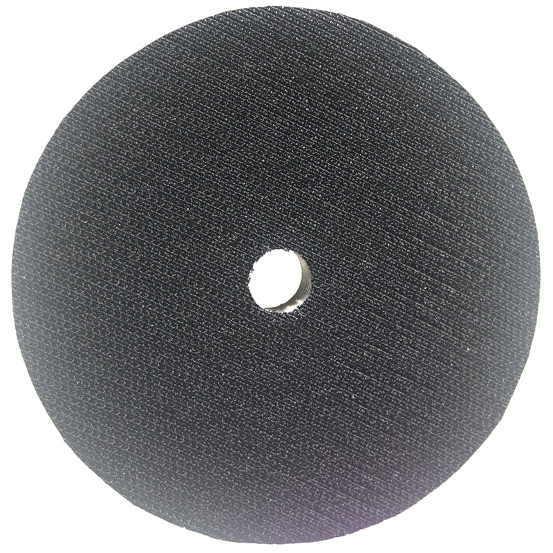 Aluminum backer disc with hook and loop backing and center hole with 5/8-11 bore for Model WG001