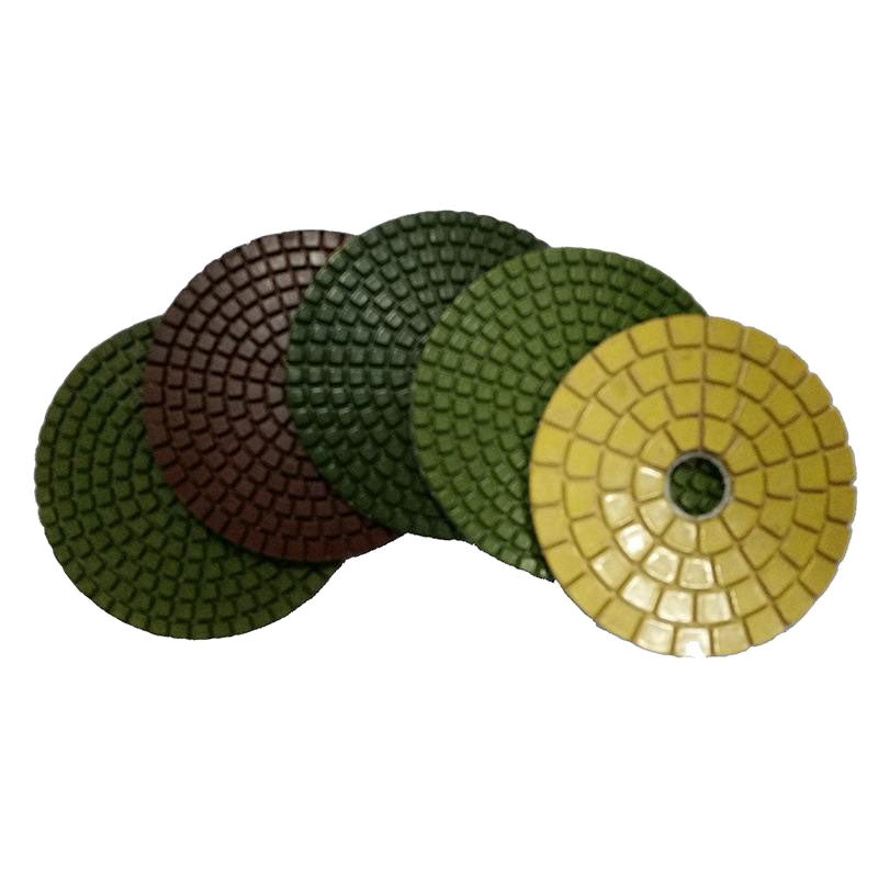 Wet grinder pad set including 30, 50, 100, 200, 400. 800, 1500 and buff pad