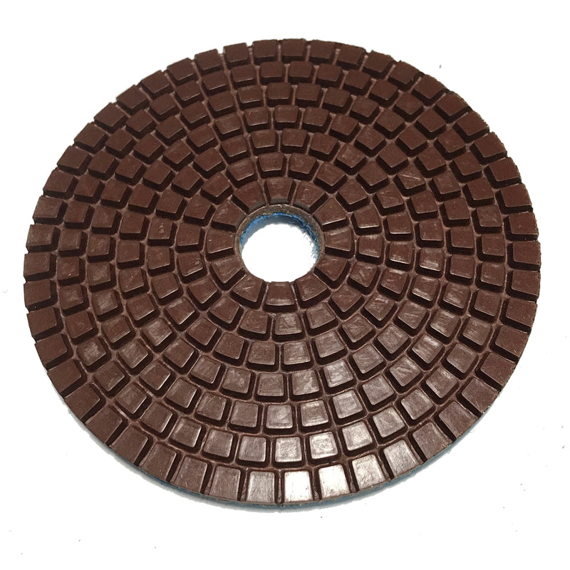 Highland Park 50 grit copper impregnated resin diamond grinding pad with center hole and Hook and Loop backing