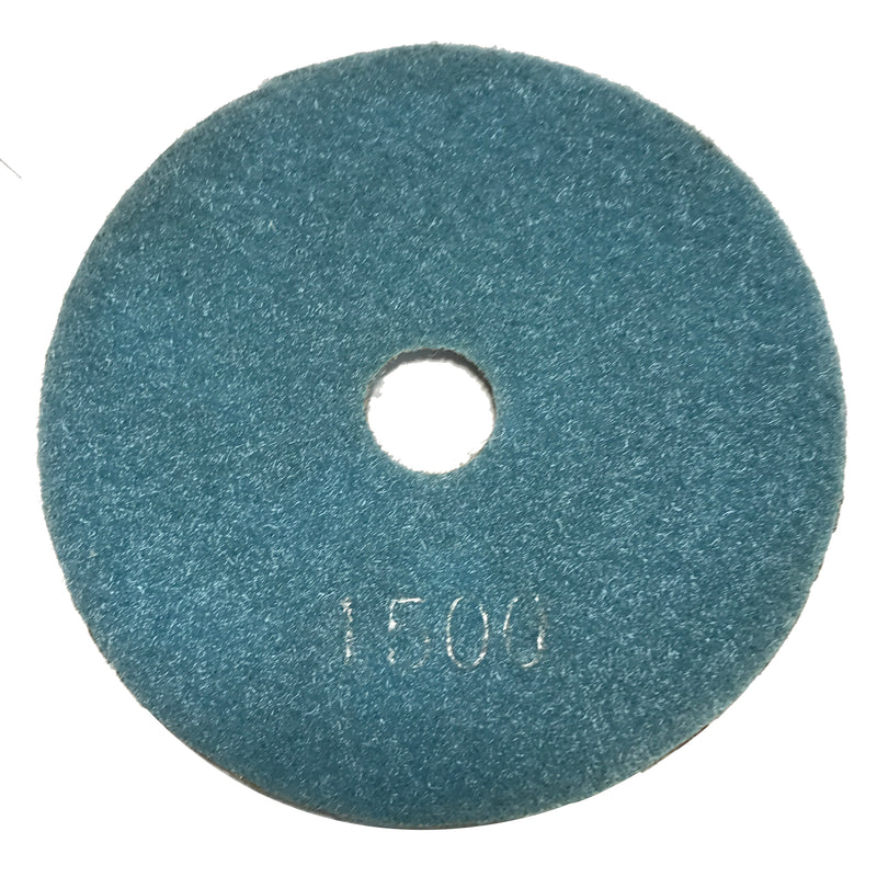 Highland Park 1500 grit resin diamond polishing pad with center hole and Hook and Loop backing