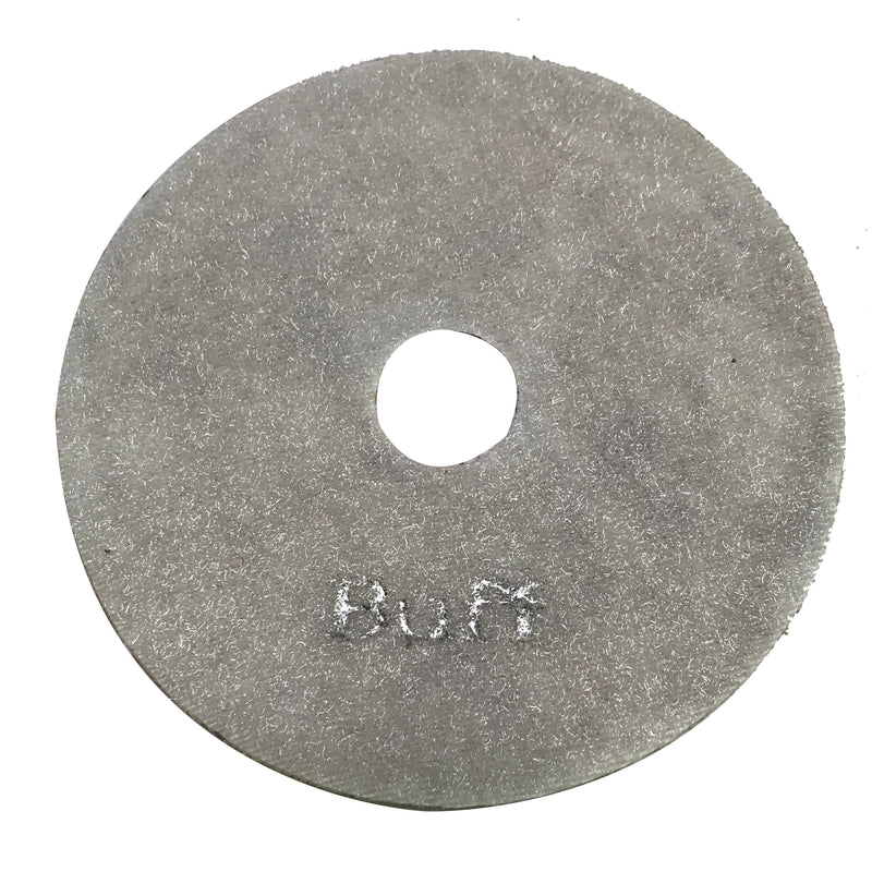 Highland Park Buff resin diamond polishing pad with center hole and Hook and Loop backing