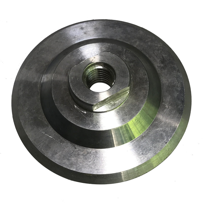 Highland Park aluminum backer disc for reducing distortion on straight edges.  Hook and Loop backing with center hole and 5/8-11 bore. Maximum speed  4,000 RPM.