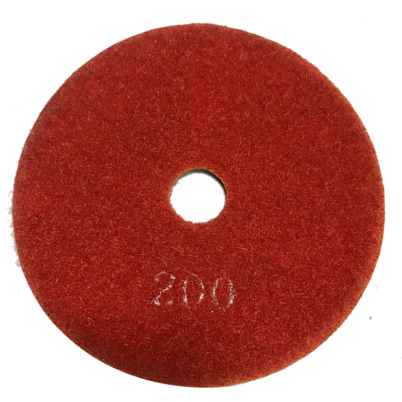 Highland Park 200 grit resin diamond polishing pad with center hole and Hook and Loop backing