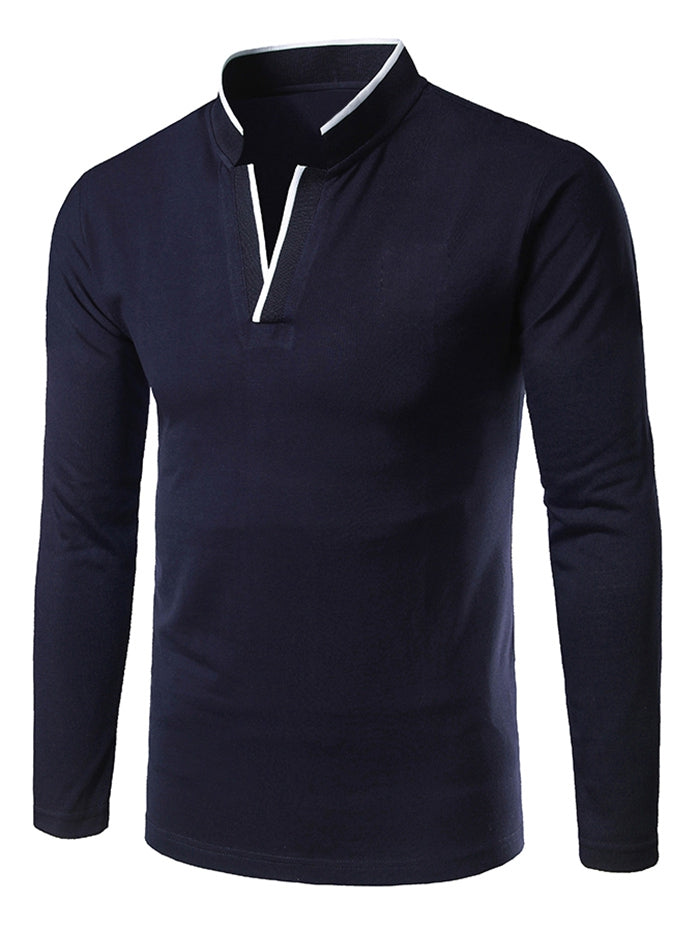 Long Sleeve Stand Collar V Notch T-shirt
