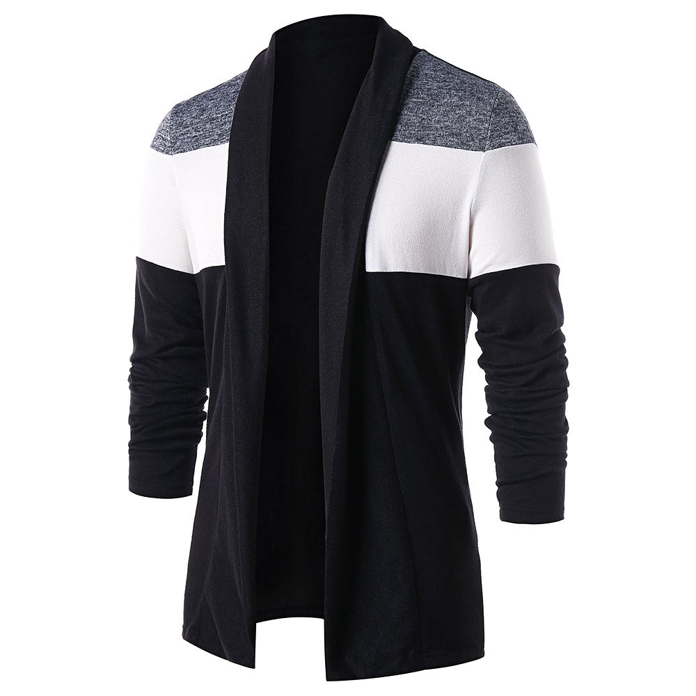 Color Blocking Open Front Casual Cardigan