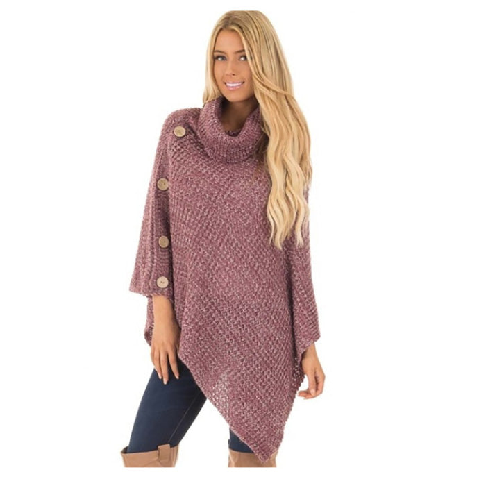 Knitted turtleneck cloak Elegant Oversize pullover