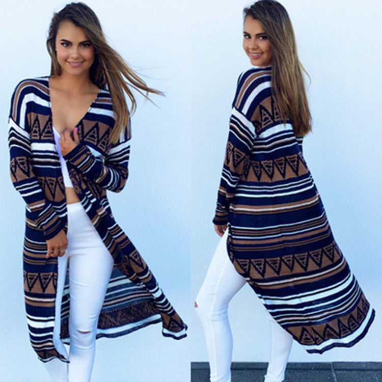 Women Long Sleeve Knitted Cardigan poncho