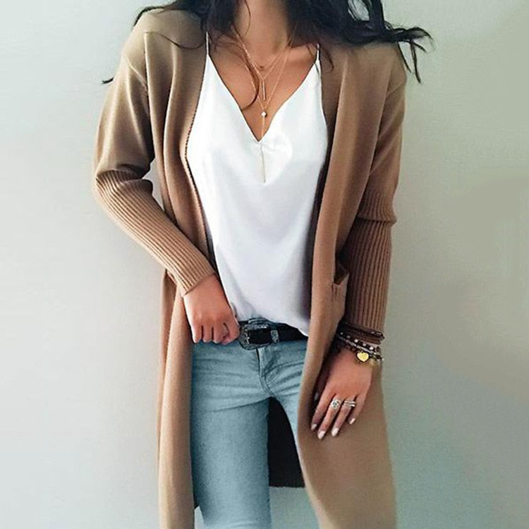 Knitted long sleeve sweater cardigan