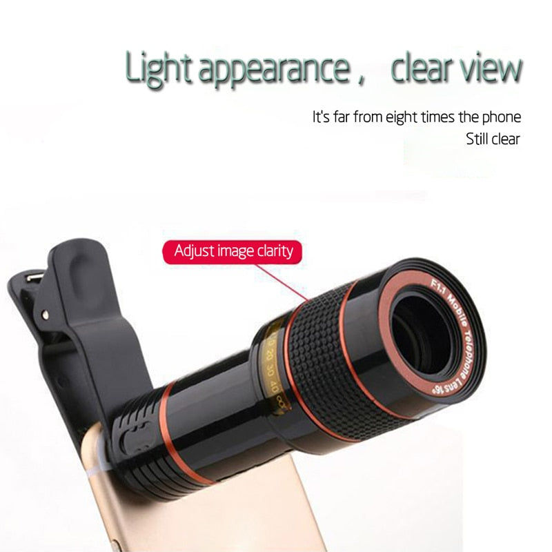 12X Zoom Optical Telescope HD Lens with Clips