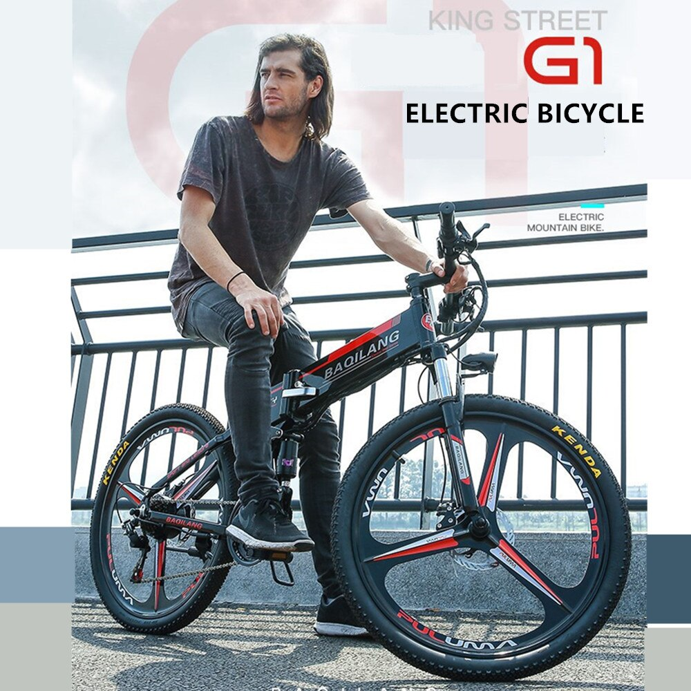 "26"" Aluminum Alloy Electric Mountain Bike with 27 Speed Foldable - E-Bike"