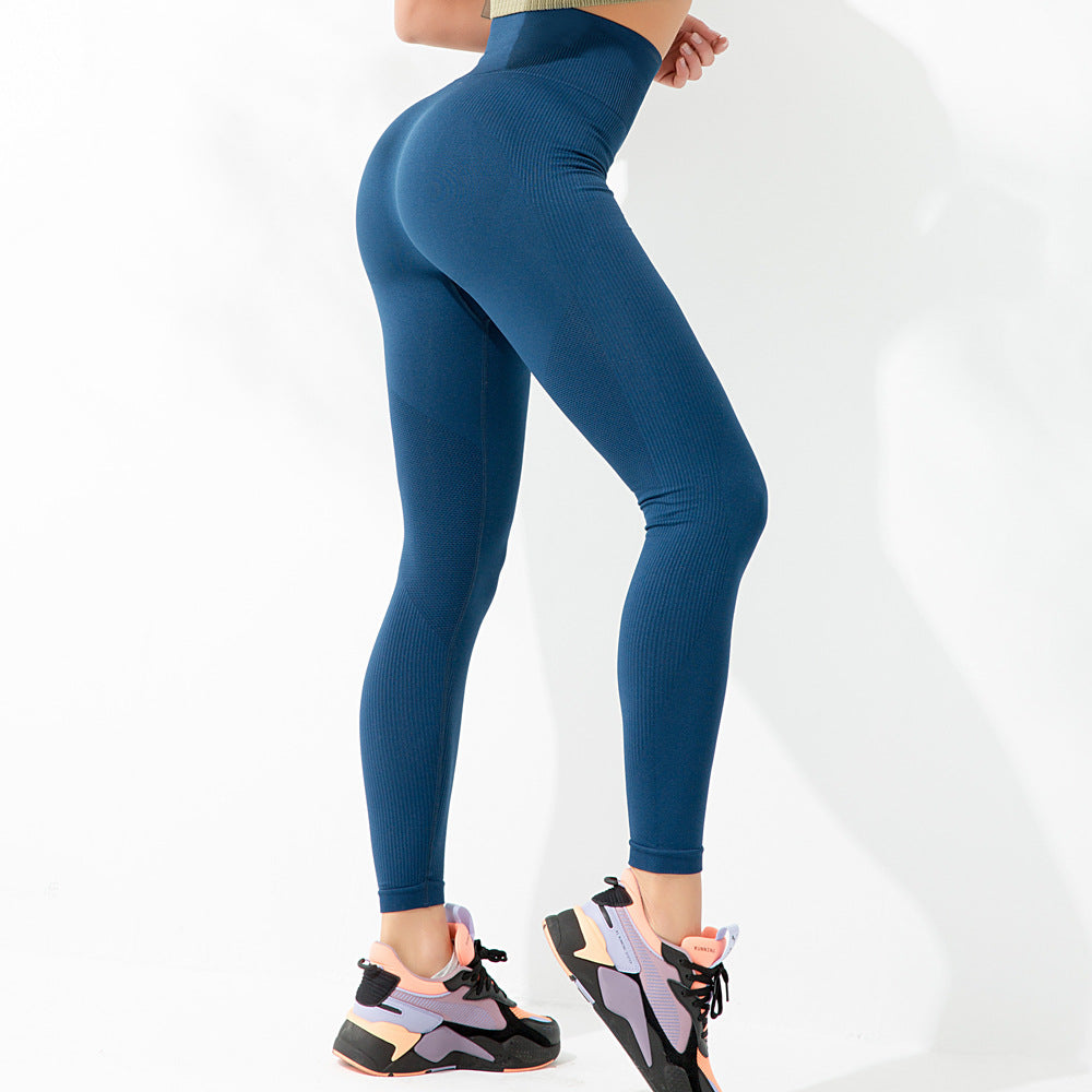 High Waisted Seamless Knitted Exercise Tummy Leggings