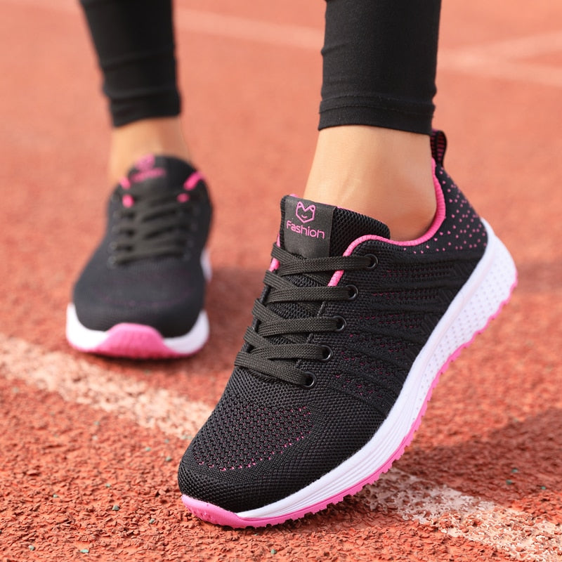 Casual Fashion Breathable Lace Up Flat Sneakers