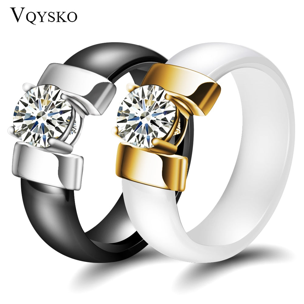 White Black Ceramic Rings Plus Cubic Zirconia with Gold Color Stainless Steel Jewellery