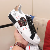 Luxury Couple Men & Women's Graffiti Vulcanised Leather Sneakers Zapatos