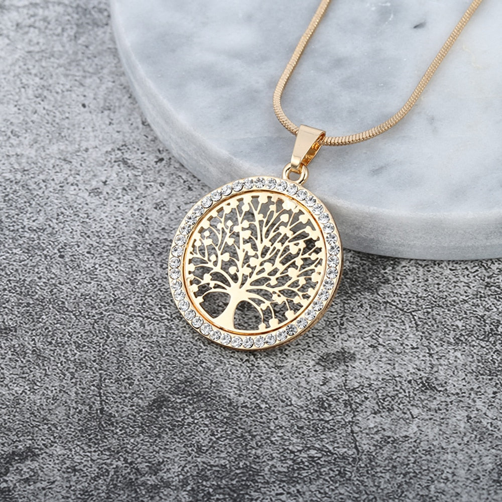 Tree of Life Crystal Round Small Pendant Elegant Necklace with Snake Chain