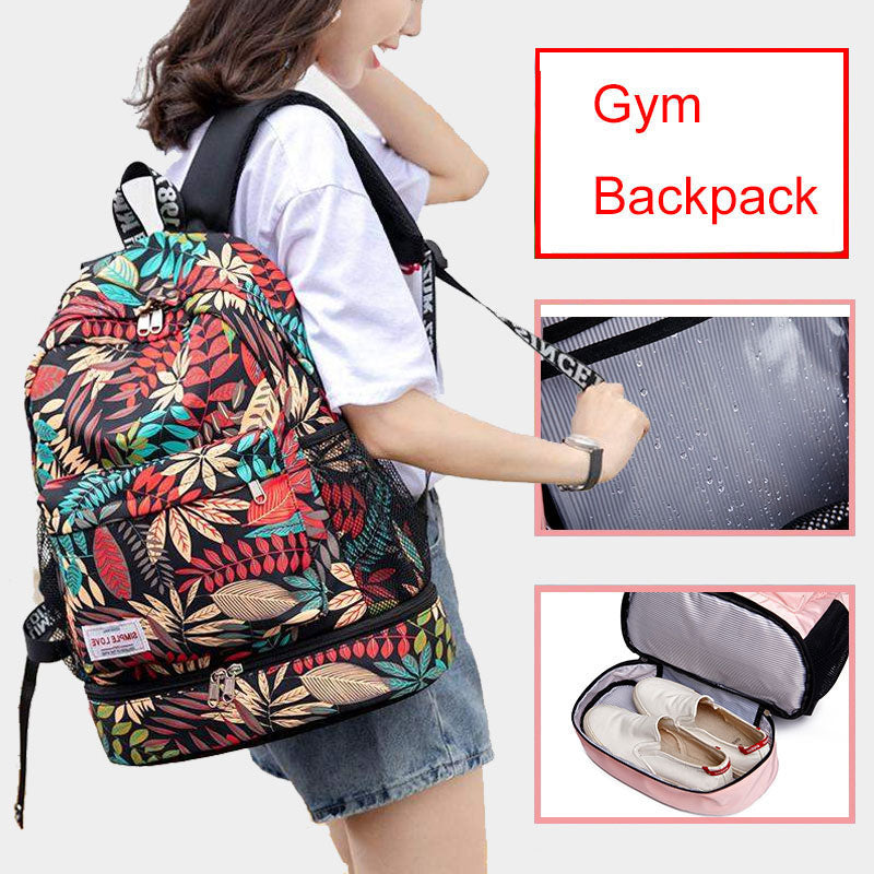 Women gym backpack waterproof with dry and wet separate