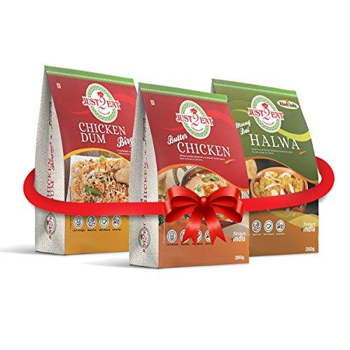Just2Eat Combo : Butter Chicken, Moong Dal Halwa & Chicken Biryani [Pack of 3] [780 gm] - Just2Eat