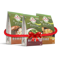 Just2Eat Combo : Methi paneer, Veg pulao & Moong Dal Halwa [Pack of 3] [750 gm] - Just2Eat