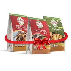 Just2Eat Combo : Mutton Curry, Mutton Biryani & Moong Dal Halwa [Pack Of 3] [780 Gm] - Just2Eat
