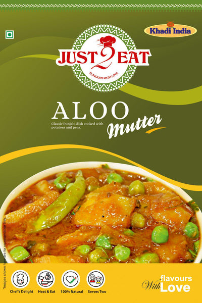 "Aloo Mutter - ""classic punjabi dish cooked with potatoes and peas"" - Just 2 Eat- Ready to Eat Main Course, Snacks, Breads & Sweets"