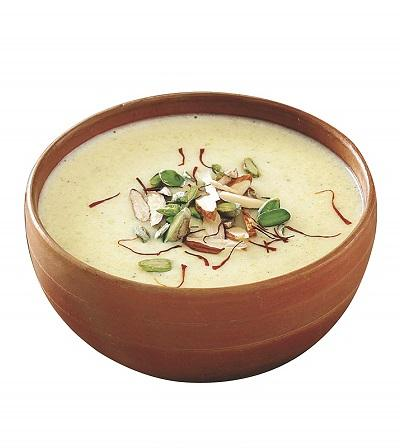 "Condensed-Milk Rabri Dessert - ""Thickened milk garnished with dry fruits"" - Just2Eat"