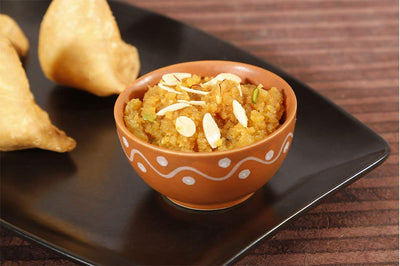 "Moong Dal Halwa Dessert - ""Moong Dal Simmered in milk and garnished with dry fruits"" - Just 2 Eat- Ready to Eat Main Course, Snacks, Breads & Sweets"