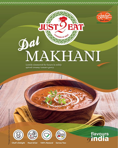 "Dal Makhani - ""Lentils simmered for hours in a mildly spiced creamy tomato gravy"" - Just 2 Eat- Ready to Eat Main Course, Snacks, Breads & Sweets"