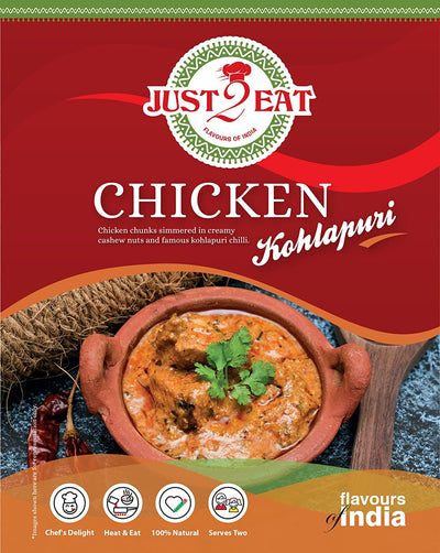 "Instant Chicken Kolhapuri - ""Chicken chunks simmered in creamy cashew nuts and famous Kolhapuri chili."" - Just 2 Eat- Ready to Eat Main Course, Snacks, Breads & Sweets"