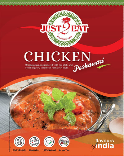 "Chicken Peshawari - ""chicken chunks simmered with red chilli and coconut gravy in famous peshawari style"" - Just 2 Eat- Ready to Eat Main Course, Snacks, Breads & Sweets"