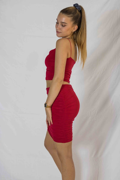 Angy Top & Skirt Set - Red - MÏA Brand