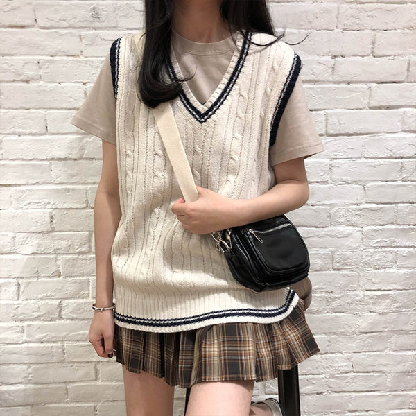 Lucy Sweater Vest - Beige, Blue & Coffee - MÏA Brand