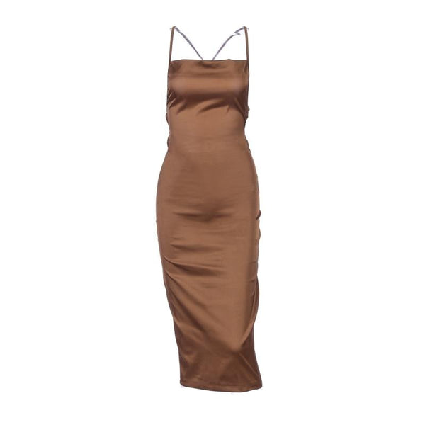 Aurora Brown Satin Dress - MÏA Brand