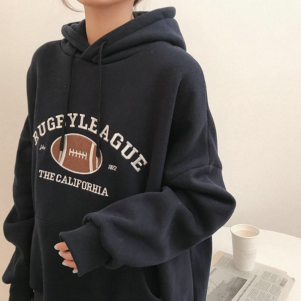 Rugby League Hoodie - Navy Blue & Gray - MÏA Brand