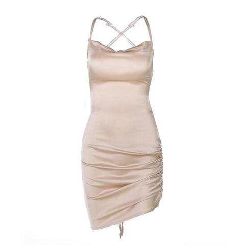 Alina Satin Dress - Gold, White, Black & Pink - MÏA Brand