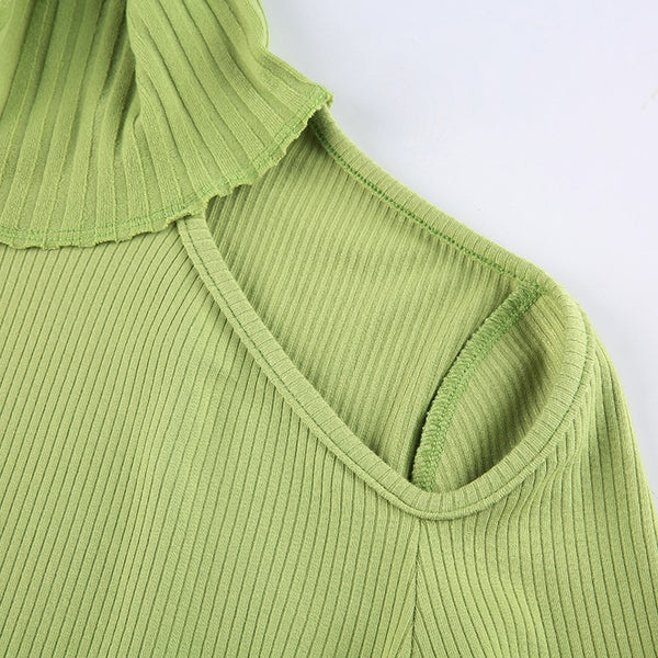 Leah Cut Out Top - Green & White - MÏA Brand