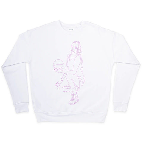 Satou Sabally White Pose Crewneck Sweatshirt