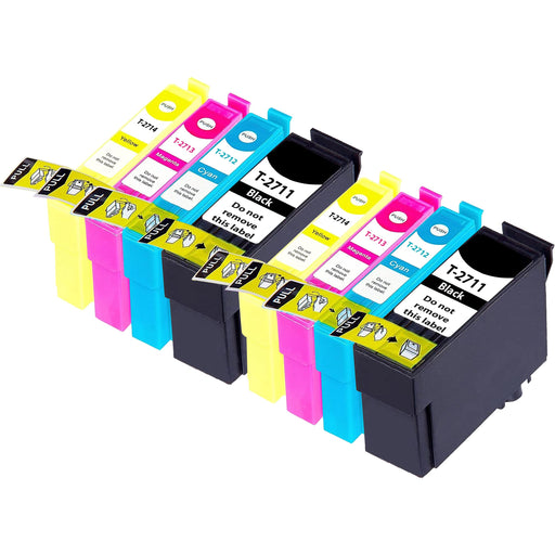 Compatible Epson 2 Sets of 4 WF-3640DTWF Ink Cartridges (27XL)