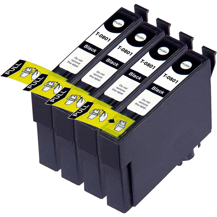 Compatible Epson T0801 Black Ink Cartridge Pack of 4