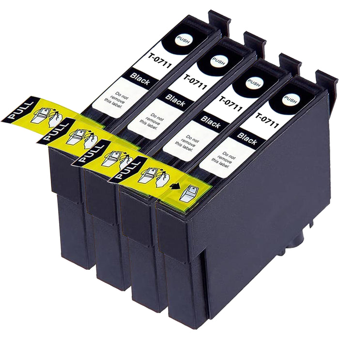 Compatible Epson T0711 Black Ink Cartridge Pack of 4