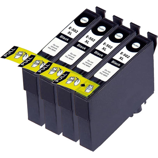 Compatible Epson 502XL Black Ink Cartridge Pack of 4
