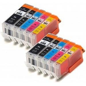 Compatible Canon 2 Sets of 5 iP7250 Ink cartridges (PGI-550 / CLI-551 XL)