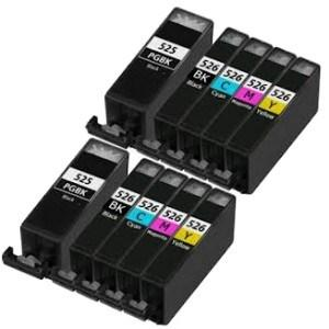 Compatible Canon 2 Sets of 5 MX895 Ink cartridges (PGI-525 / CLI-526 XL)