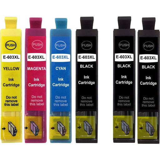 Compatible Epson XP-4105 Multipack High Capacity Ink Cartridges - Pack of 6 - 1 Set & 2 Black